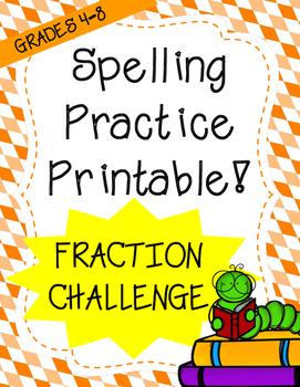 Word Work: What is it Worth? Fraction Challenge (Spelling Worksheet)