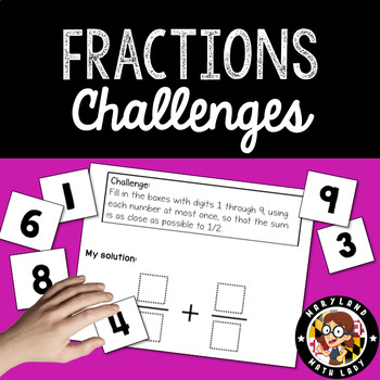 Fraction Challenges with Digit Cards for 4th, 5th, and 6th graders
