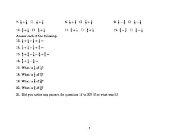 Fraction Chart and Fraction Exercises