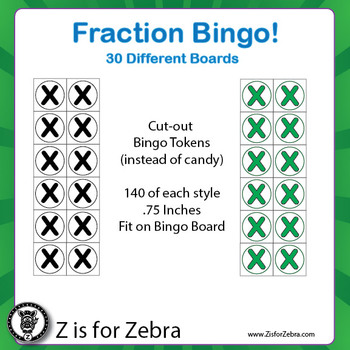 Fraction Circle Bingo - 30 Different Boards + Extras! { Z is for Zebra }