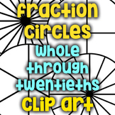 Fraction Circle Black Lines/Clip Art