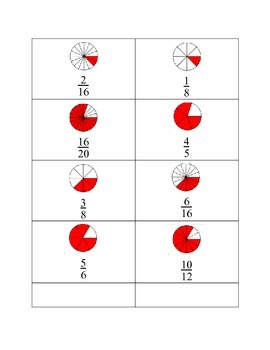 Fraction Circle Cards