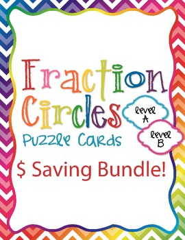 Fraction Circles Puzzle Cards Levels A and B Bundle