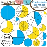 Fraction Circles Set: Clip Art Graphics for Teachers {Blue & Yellow + Blackline}