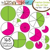 Fraction Circles Set: Clip Art Graphics for Teachers {Green & Pink + Blacklines}