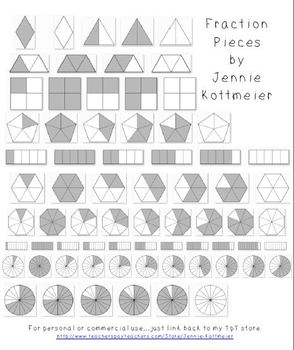 Fraction Clip Art - Grayscale Pieces