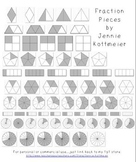 Fraction Clip Art - Grayscale Pieces
