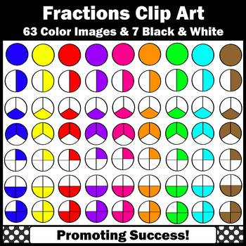 Fraction Clip Art Halves Thirds & Fourths, Fractions Clipart, Math Centers SPS