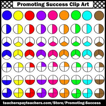 Fraction Clipart Commercial Use Math Images Halves Thirds & Fourths SPS