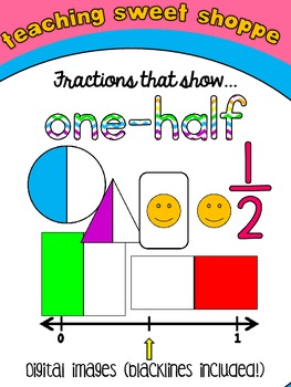 Fraction Clip Art!  One-Half  FREEBIE!