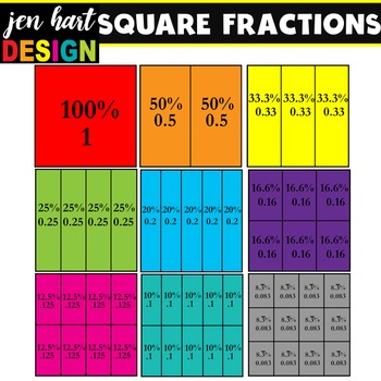 Fractions Clipart {Squares}