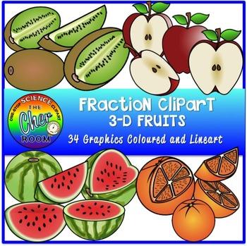 Fraction Clipart (3D Fruits)