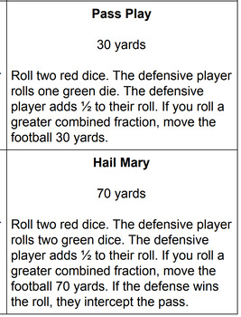 Fraction Comparison Football Dice & Card Game