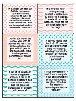 Fraction Fun Word Problems & Task Cards - 28 problems