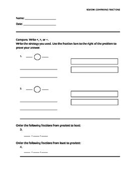 Fraction Comparison (editable review template)
