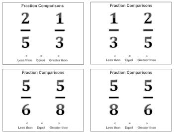 Fraction Comparisons Flash Cards