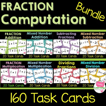 Fraction Computation Task Card Bundle- All Four Operations!