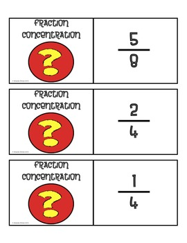 Fraction Concentration Game - Fraction Mix and Match Game