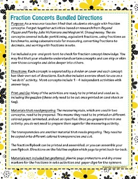 Fraction Concepts Bundle! - Review Six Concepts