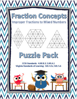 Fraction Concepts- Improper Fractions to Mixed Numbers Puzzle Pack