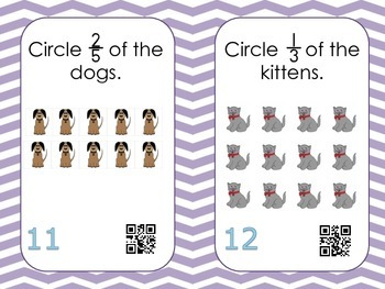 Fraction Concepts Task Cards with QR Codes BUNDLE!