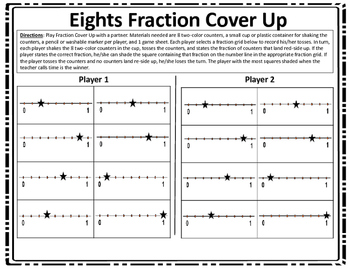 3.3B Fraction Cover Up With Number Lines Game STAAR