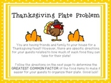Fraction Craftivity: Thanksgiving Plate Problem