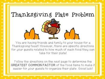 Fraction Craftivity: Thanksgiving Plate Problem