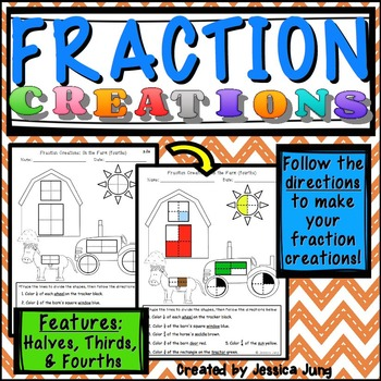Fraction Creations (halves, thirds, fourths)