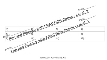 Fraction Cubes Levels 1 and 2