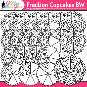 Cupcake Fraction Clip Art {Math Graphics for Games and Word Problems} B&W