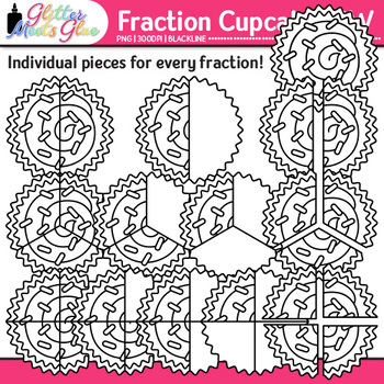 Cupcake Fraction Clip Art | Math Graphics for Games and Word Problems | B&W