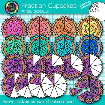 Fraction Cupcakes Clip Art {Rainbow Graphics for Math Resources}