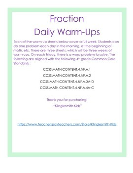 Fraction Daily Warm-Ups (Common Core)
