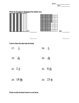 Fraction & Decimal Assessment (4th Grade)