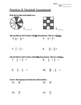 Fraction & Decimal Assessment (4th Grade)