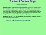 Fraction & Decimal Bingo for the Smartboard