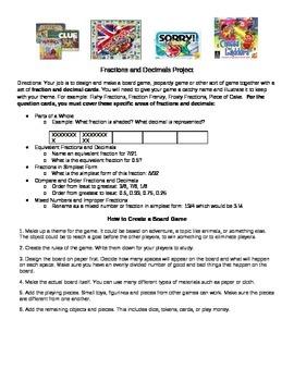 Fraction & Decimal Board Game Project Outline