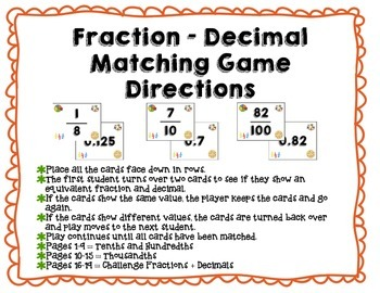 Fraction + Decimal Conversion Matching Game - Differentiated for Grades 4-5