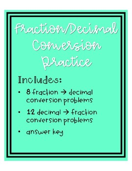 Fraction & Decimal Conversion Practice