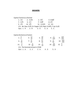 Fraction-Decimal Conversions Warm-Ups or Worksheet