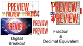 Fraction & Decimal Equivalents Digital Breakout Escape Tasks