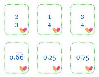 Fraction & Decimal Equivalents Matching Cards