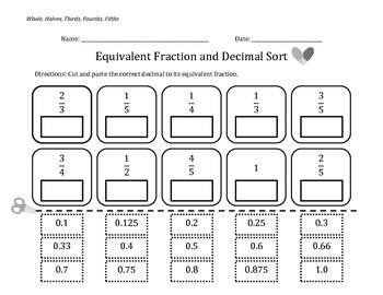 Fraction & Decimal Equivalents Sorts