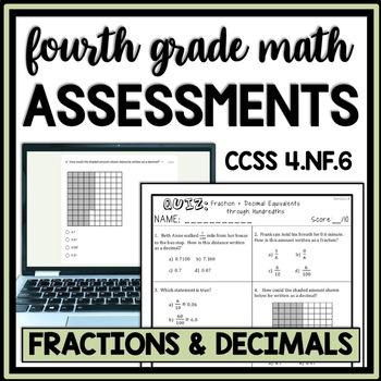 Fraction & Decimal Equivalents Quiz, 4.NF.6 Assessment, Through Hundredths