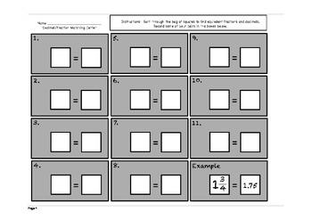 Fraction Decimal Matching Center