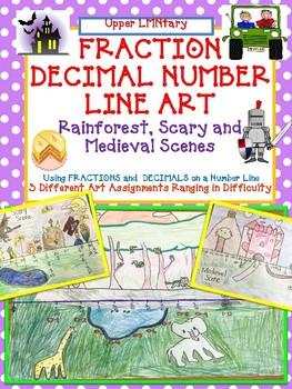 Fraction Decimal Number Line ART - Rainforest, Scary Scene, Castle Scene