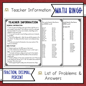 Fractions Decimals Percents BINGO Math Game