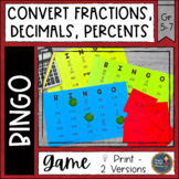 Fractions Decimals Percents BINGO Math Game