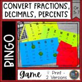 Converting Fractions Decimals Percents BINGO Math Game